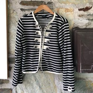 Striped Nautical Button Cropped Zipper Blazer, L